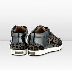 Jimmy Choo - Miami - 132miamislpw - Smoke Leopard  Anthracite  Leather Sneakers - Channel a luxe sportswear vibe with these low top sneakers in sultry grey leopard print and anthracite mirror leather. Wear with dark denim for effortless weekend cool.