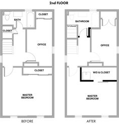 Improved use of space. Cupboard by stairs changed access to bathroom, washing room into bedroom cupboard with sliding door.