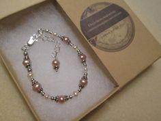 Sweet Baby Pearl Bracelet Pink and White by DecoArtworkJewelry, $25.00