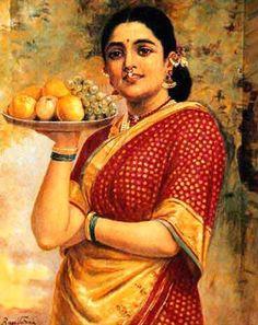 Raja_Ravi Varma_Painting_Lady_Carrying_Fruits.jpg (370×467)