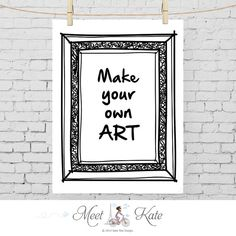 Make your own ART print black and white printable art by katewei, €5.00