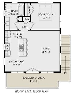 Contemporary, Modern 2 Car Garage Apartment Plan 40823 with 1 Beds , 1 Baths Alternate Level Two 1 Bedroom House Plans, Garage Apartment Floor Plans, Garage Apartments, Small Apartment Plans, Small House Floor Plans, New House Plans, 20x30 House Plans, Studio Floor Plans, Square Floor Plans