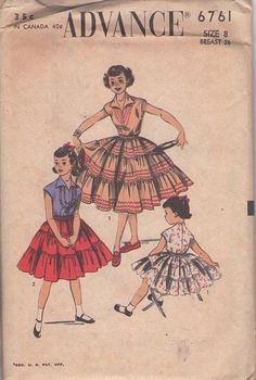 MOMSPatterns Vintage Sewing Patterns - Advance 6761 Vintage 50's Sewing Pattern FUN Dance Party Girls Wing Collar BLouse, Squaw Patio Dress, Full Rick Rack Trimmed Tiered Skirt Size 8
