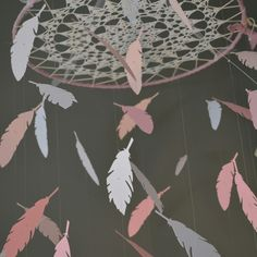 Dreamcatcher mobile in white, pink and soft pink, just so sweet for a nursery.