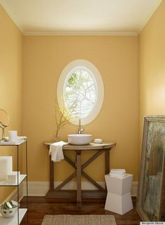 """Benjamin Moore: """"August Morning""""   This color flatters all skin tones—good for a small bathroom   Link has some other colors as well"""