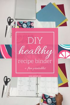 DIY healthy recipe binder, organize all your healthy recipes and get ready for your summer bod. Free printables and video tutorial included. Healthy Food Options, Healthy Recipes, Healthy Meals, Recipe Organization, Binder, Free Printables, Organize, Favorite Recipes, Summer