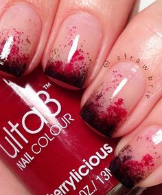 Use Ulta3 Nail Polish in Cherrylicious and Black Satin. Paint the two polishes on an applicator sponge, and gently dab the end of your fingertips with a sponge to get the semi-gradient look before finishing with a clear topcoat.  This would look great with black nail polish as the base!