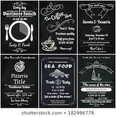 Images, photos et images vectorielles de stock similaires de Restaurant Food Menu Design Chalkboard Background - 196454786 similaires | Shutterstock Menu Restaurant, Restaurant Recipes, Speisenkarten Designs, Hipster Food, Menu Flyer, Food Menu Design, Desserts Menu, Lunch Menu, Coffee Shop
