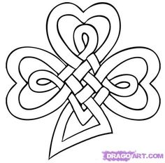 "Step Learn How to Draw a Celtic Clover Knot FREE Step-by-Step Online Drawing Tutorials, St Patricks Day, Seasonal free step-by-step drawing tutorial will teach you in easy-to-draw-steps how to draw ""How to Draw a Celtic Clover Knot"" online. Celtic Quilt, Celtic Symbols, Celtic Art, Celtic Knots, Celtic Clover Tattoos, Embroidery Patterns, Quilt Patterns, Zentangle Patterns, Celtic Shamrock"