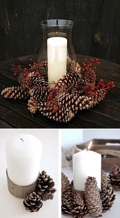 3 DIY um Tannenzapfen zu recyclen The post 3 DIY um Tannenzapfen zu recyceln appeared first on PINK DiY. Diy Christmas Decorations For Home, Pine Cone Decorations, Christmas Centerpieces, Holiday Wreaths, Christmas Crafts, Christmas Ornaments, Christmas Pine Cones, Winter Christmas, Christmas Time
