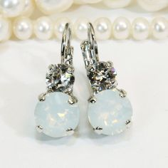 White Opal Crystal Clear Milky White Bridal drop by TIMATIBO