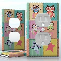 DIY Do It Yourself Home Decor - Easy to apply wall plate wraps | Summer Patchwork Owls Colorful patchwork with cute owls wallplate skin sticker for 1 Gang Wall Socket Duplex Receptacle | On SALE now only $3.95