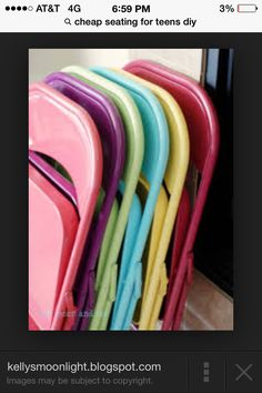 Spray paint old folding chairs for more cheap seating