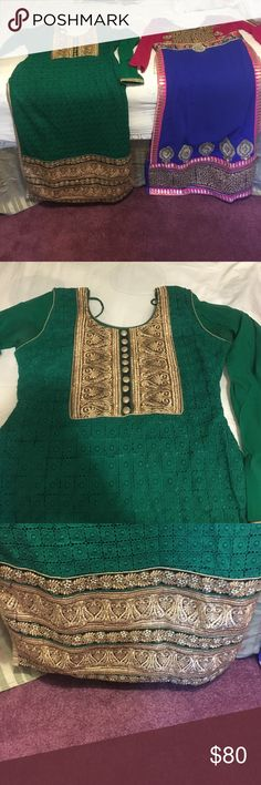 Shalwar kameez anarkali Two beautiful suits. both are size small. Together it will cost $150. individually you can offer me a price. Cheaper on M Dresses