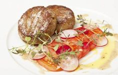 Crisp shrimp risotto cakes with tomato and radish salad - Galton Blackiston