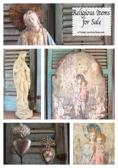 Catholic religious items for sale at Vintage American Home.com Our Lady Of Lourdes, Our Lady of Grace, Our Lady of the Miraculous Medal, Sacred Heart of Jesus, Immaculate Heart of Mary and more.