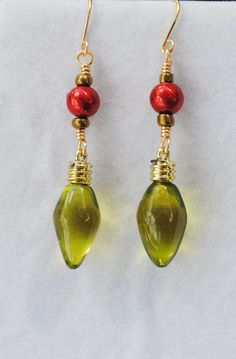 Christmas earrings; green christmas light earrings; holiday earrings; red and green earrings; green light earrings; novelty holiday earrings by Rocks2Gems2Wire on Etsy