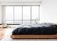 White Oak Bed Frame, King, Modern Minimalist set, Japanese Low Platform Bed with 2 Attached Nightstands, Side Tables Included Japanese Inspired Bedroom, Japanese Bedroom, Japanese Interior Design, Interior Design Studio, Salon Design, Oak Bed Frame, Japanese Minimalism, Japanese Aesthetic, Minimal Bedroom