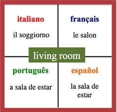 Living room - Daily Vocabulary Word in French, Spanish, Italian and Portuguese.