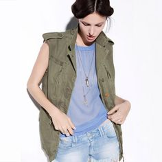 nice 2015 Ladies Style The actual enthusiast and also the blowing wind within the little eco-friendly army standard Lapel tooling lengthy sleeveless jacket coat Combat Jacket, Military Jacket, Army Vest, Vest Jacket, Khaki Vest, Army Green Vest, Moda Zara, Top Mode, Zara Fashion