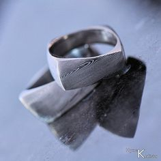 Wedding Ring, Mens ring, Gift for men - Hand forged stainless Damascus steel ring - Rhino. $237.00, via Etsy.