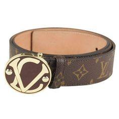 cd910af793f8 Louis Vuitton Brown Monogram Leather Round Buckle Belt LB4330-489