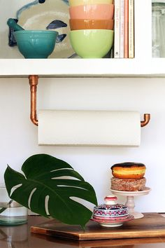 DIY Suspended Copper Pipe Paper Towel Holder | Squirrelly Minds