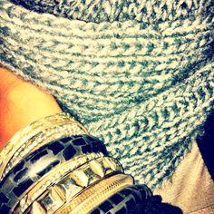 Big scarf + lots of bracelets