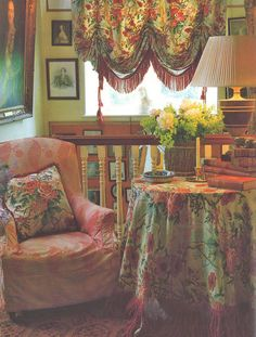 John Fowler's ability to mix patterns and colors in upholstery, window treatments and, in the case of the Wiltshire rectory landing, table fabric is inspiring.