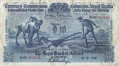 1931 Currency Commission: Consolidated Issues, Provincial Bank of Ireland, Ten Pounds, 2 October Brennan-Ffforde signatures (CPB MacDevitt A few pinholes on left side and a number on the back, otherwise very fine Old Irish, Irish Art, Irish Celtic, Royal Bank, European History, Art Auction, Banks, Things To Sell, Coins