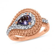 Viola, Pear-cut Amethyst & White Topaz Ring in Sterling Silver Pink Plated