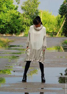 Купить Пончо-платье в стиле БОХО - разноцветный, платье, Платье осеннее, платье теплое