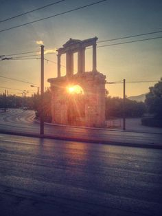 Sunrise. Adrian's Gate, Athens, Greece.