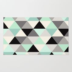 Black and white geometric mint gray Rug, home decor @society6