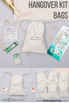 """Classy drawstring hangover kit bags sized 5"""" x 7"""" they are perfect for filling with treats or hangover remedies for hen nights, bridal showers or just a girly get together. They come in packs of 6 or as singles.  Fill them with some pain curing meds, a face mask, some sweets, mints, lip balm and whatever you choose. These are a great keepsake from the hen party or wedding fun also.  #hangoverkit #hangoverkitbag #diyhen"""