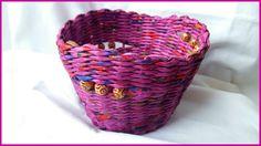 Как покрасить плетеную корзинку из газет вместе с бусинами