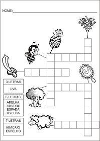 Saber e Saberes: Cruzadinhas com banco de palavras Crossword, Diagram, Mary, Nice, Preschool Literacy Activities, Kids Learning Activities, Kids Activity Ideas, Wordsearch For Kids, Index Cards