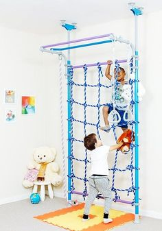 Wallbarz Nets Indoor Playground - Little Jungle Play Set, Monkey Bars, Exercise Sports Training Gym for Toddlers, Kids, and Adolescents