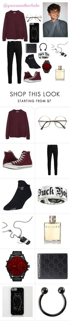 """""""Little Nerd 🤓"""" by harrystyleslove02 ❤ liked on Polyvore featuring MANGO MAN, Converse, Jack & Jones, Under Armour, King Baby Studio, Diesel, Chanel, Gucci, Hot Topic and men's fashion"""