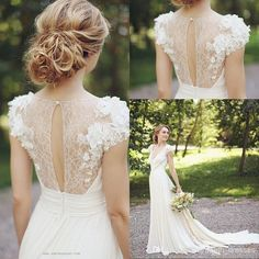Wholesale Country Style 2015 Stunning Wedding Dress Gown Deep V neck Cap Sleeves Chiffon Sweep Train Flowered Lace Elegant Bridal Gowns Dresses, Free shipping, $126.71/Piece | DHgate Mobile
