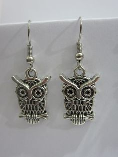 Antiqued silver owl earrings