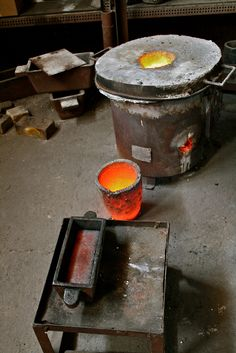 Gold smelting.