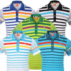 Puma Golf Men's Variegated Stripe Polo Shirt - Funky, Bold & Colourful