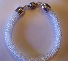 White AB Kumihimo Beaded Bracelet by sparkleezcrystals on Etsy, $30.00