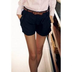 Skinny Solid Coloo Fashionable Style Polyester Women's Shorts (SAPPHIRE BLUE,M) in Shorts | DressLily.com
