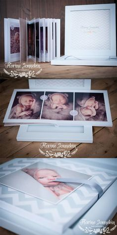"""Delicate #babybook in light blue tones. The box is in light blue touch paper, this color is in tune with the image of the cover and the lime ribbon complete the """"ton su ton"""" book. The result is harmonious and sweet, perfect for #newborn #portraitphotograhy. (by florine jonnekin )  http://www.graphistudio.com/en_US/home"""