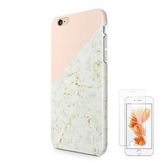 Amazon.com: Pastel Gradient Marble iPhone 6 6S Protective Case for Girls Ucolor Dual Layer Hard PC + Soft TPU Tough Case for iPhone 6 6S with Slim Tempered Glass Screen Protector: Cell Phones & Accessories
