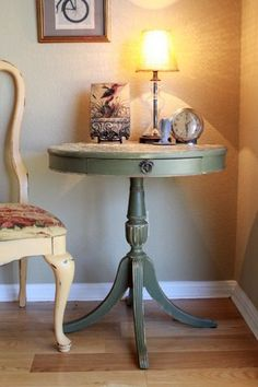 Vintage Round Side Table Green Distressed