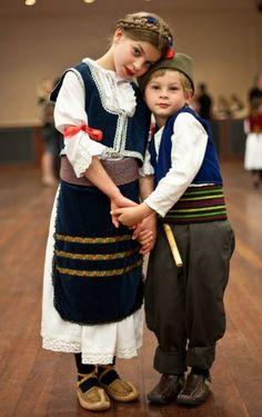 Children wearing traditional serbian costumes, Serbia