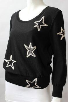 Sonia Rykiel Black Cotton White Rhinestone Star Sweater